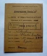 02 - MINISTERE DU TRAVAIL - Carte D'immatriculation  ASSURANCES SOCIALES - Département De L'AISNE 1930 - Documents Historiques