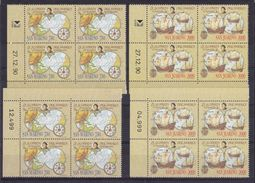 1991 San Marino Saint Marin CRISTOFORO COLOMBO 8 Serie Di 2v. MNH** 2 Quartine 2 Bl.4 - Christopher Columbus
