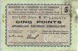 Billets Matière - 5 POINTS (Appareillage Electrique) 6/1949 TTB - Zonder Classificatie