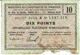 Billets Matière - 10 POINTS (Appareillage Electrique) 6/1949 TB - Zonder Classificatie