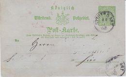 Württemberg Ganzsache P 8/01 Stuttgart Ca 1873 - Wuerttemberg