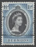 Bermuda. 1953 QEII Coronation. 1½d Used. SG 134 - Bermuda