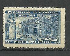 France 1900 EXPOSITION UNIVERSELLE Phono Cinema Theatre MNH - 1900 – Paris (Frankreich)
