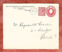 Ganzsache U 21 A Oder PU 39 Koenig George + ZF, Zudruck Tea Planters, London Nach Paris 1923 (43779) - Storia Postale
