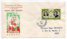 MONACO--1957-  Enveloppe Souvenir Du 23 Janv 1957 --Naissance De La Princesse Caroline - Destinée à NICE-06 - Lettres & Documents