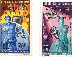 DAHOMEY Scott C103-C104 Yvert  PA107-PA108 (2) ** Cote 4,00$ 1969 Surcharges - Bénin – Dahomey (1960-...)