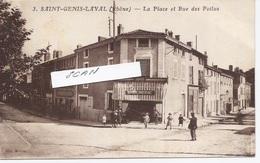 69. St GENIS LAVAL - La Place Et La Rue Des POILUS - La BOUCHERIE DUBREUIL - 641117 - Autres Communes
