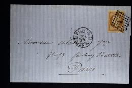 France:  Lettre Complet 1863  7e Diston Paris A Paris Yv 13 B Cachet Losagne D - Postmark Collection (Covers)