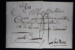 France:  Lettre Complet 1819  48 St Lo Deb 2e Dinan A Loudeau Déboursé De Dinant - Postmark Collection (Covers)
