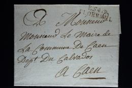 France:  Lettre Complet 1713 Port Paye  P 54 P Ploermel A Caen  Pluviose An 13 - 1701-1800: Précurseurs XVIII