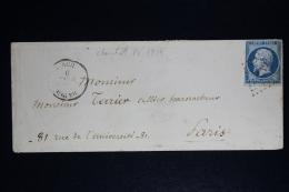 France:  Enveloppe 1855 Cherchell  Algerie  PC 3719 A  Paris - Marcophilie (Lettres)