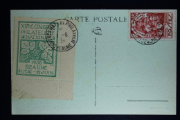 France:  Carte Postale  1936  Beaune   Congres Philatélique National Beaune - 1921-1960: Moderne