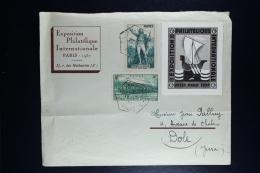 France:  Enveloppe 1937  Exposition Philatélique Paris A Dole Jura - Postmark Collection (Covers)