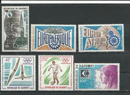 DAHOMEY Scott C187, C189-C190, C260, C266-7 Yvert  PA191, PA192-PA193, PA234, PA242-3 (6) ** Cote 6,50$ 1973-5 - Bénin – Dahomey (1960-...)