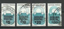 MEXICO 1976/86 Postversicherung- Zuschlagsmarken O - Mexique
