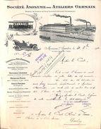 SA Des Ateliers Germain (chemins De Fer, Tramways Voiures Automobiles) 1910 Monceau S/ Sambre Top Illustration - Bélgica