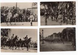 France Paris Fêtes De La Victoire Defile Militaire Lot De 4 Anciennes Cartes Photos 1919 - War, Military