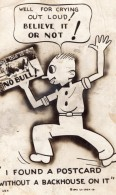USA Man No Bull Without Backhouse Bécosse Ancienne Carte Postale Photo 1941 - Humour