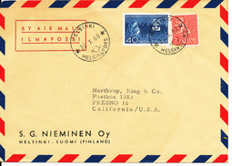 Finland Air Mail Cover Sent To USA Helsinki 25-10-1960 Refugee Stamp - Airmail