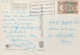 THEME AUTOMOBILE PARIS  OCOTBRE 1966 SALON DE L'AUTO  -CYCLE ET MOTO - Marcophilie (Lettres)