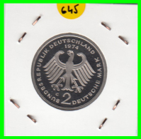 ALEMANIA - GERMANY -MONEDA DE 2.00 DM. THEODOR HEUSS - AÑO 1974-G CALIDAD PROOF S/C - [ 7] 1949-… : RFA - Rep. Fed. Alemana