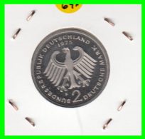 ALEMANIA - GERMANY -MONEDA DE 2.00 DM. THEODOR HEUSS - AÑO 1974-F CALIDAD PROOF S/C - [ 7] 1949-… : RFA - Rep. Fed. Alemana