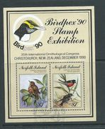 Norfolk Island 1990 Bird Robin Sydpex Miniature Sheet Used , Small Paper Fault - Norfolk Island