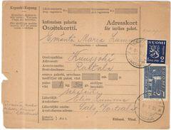 FINLANDIA - Finland - 1931 - Osoitekortti, Kotimaisen Paketin - Adresskort Paket Packet Freight Bill Card - Viaggiata Da - Finland