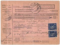 FINLANDIA - Finland - 1931 - Postiennakko-Osoitekortti - Adresskort Paket Packet Freight Bill Card - Viaggiata Da Helsin - Finland