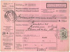 FINLANDIA - Finland - 1927 - Postiennakko-Osoitekortti - Adresskort Paket Packet Freight Bill Card - Viaggiata Da Helsin - Finland
