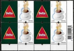 Portugal 2009 Café Delta Coffee Cup Corporate, 1 Quadra MNH Canto Folha,  Mundifil 3890A - 1910 - ... Repubblica
