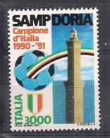 ITALIA 1991 SCUDETTO ALLA SAMPDORIA SASS. 1966 MNH XF - 6. 1946-.. Repubblica