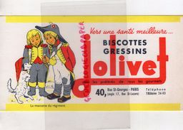 75- PARIS- BUVARD  BISCOTTES GRESSINS JOLIVET- MASCOTTE DU REGIMENT-CHIEN-40 RUE ST GEORGES SAINT LAZARE - Zwieback
