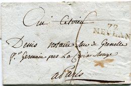 SEINE ET OISE De MEULAN LSC Non Datée Avec Linéire 32x9 Taxée 5 Pour PARIS - Marcophilie (Lettres)