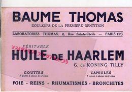 75- PARIS- BUVARD BAUME THOMAS-HUILE DE HAARLEM G. DE KONING TILLY-PHARMACIE DOULEURS 1ERE DENTITION- DENTS DENTAIRE - Chemist's