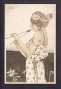 Superbe CPA Illustrée Kirchner - Femme Muse Antique à La Flute - Vierge - Kirchner, Raphael