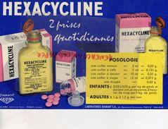 75- PARIS- BUVARD HEXACYCLINE-SIROP ANTIBIOTIQUE-LABORATOIRES DIAMANT-63 BD HAUSSMANN- IMPRIMERIE JOMBART ASNIERES - Chemist's