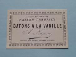 """Ancienne Mon Verrière - NAJEAN-THEURIET """" BATONS A LA VANILLE """" (Confiseur à St. Seine-L'Abbaye ) 10 X 6,5 Cm ! - Labels"""