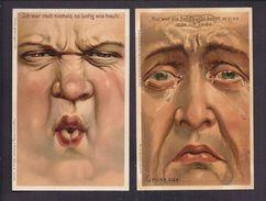 Lot De 2 Superbes CPA Illustrée Allemande - Gruss Aus Caricature De La Grimace - Nordwestd Antiquariat Bremen - Visage - Kirchner, Raphael