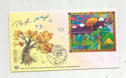 Timbre, FDC, 1 Er Jour  , UNITED NATIONS , Peter MAX , Suisse , Genéve ,1997 , Sommet Planéte Terre, 4 Timbres - Genf - Büro Der Vereinten Nationen