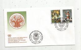 Timbre, FDC, 1 Er Jour  , UNITED NATIONS, 1400 Wien ,1993 , Vieillir Actif Et Respecté - Centre International De Vienne