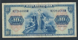BRD Rosenbg: 258, Kenn-Bst.: N Gebraucht (III) 1949 10 Deutsche Mark (8590300 - [ 7] 1949-… : RFD - Rep. Fed. Duitsland