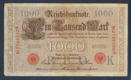 Deutsches Reich Rosenbg: 45, 7stellige KN, Unterdruck Dunkelgrau Bis Schwarz Gebraucht (III) 1910 1.000 Mark (7692811 - [ 2] 1871-1918 : German Empire