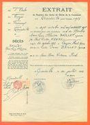 """10 Grandville - Généalogie """" Extrait Acte De Décés En 1937 """" Timbre Fiscal - VPAN 4 - Avvisi Di Necrologio"""