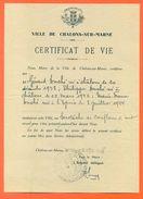 """51 Chalons Sur Marne - Généalogie """" Extrait Certificat De Vie 1946 """" VPAN 4 - Announcements"""