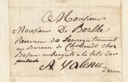 Lac 1820 Genissieux Enregistrement Chabeuil Valence Drome Pour De Berlhe - Marcofilia (sobres)