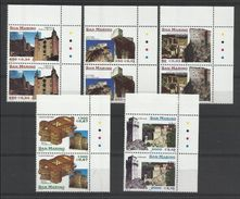 1999 San Marino Saint Marin ARCHITETTURA 2 Serie Di 5v. MNH** Coppia ARCHITECTURE - Castelli