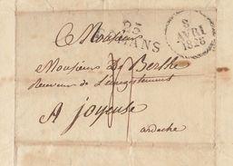 Lac 1828 Genissieux à Joyeuse Pour De Berlhe - Storia Postale