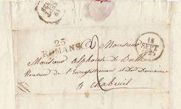 Lac 1829 Saint Jean En Royans Romans Sur Isère Vers Chabeuil Drome Pour De Berlhe - Storia Postale