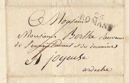 Lac 1826 Genissieux Vers Joyeuse Ardèche Pour De Berlhe - 1801-1848: Précurseurs XIX